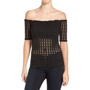 Kendall & Kylie laser cut black off shoulder top